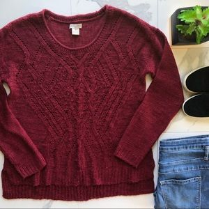 Lucky Brand Dark Red Knit Sweater